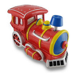 Large Bobble Smoke Stack Train Engine Piggy Bank - This charming piggy bank is a great addition to every little boy`s room. Made of cold cast resin, it features a brightly colored steam engine with a bobble spring supporting the smoke stack. The bank measures 10 1/2 inches long, 6 inches wide, and 7 inches tall and empties via a twist-off plastic piece on the bottom. It is hand-painted, and makes a great gift for train lovers or anyone wanting to encourage a savings habit.