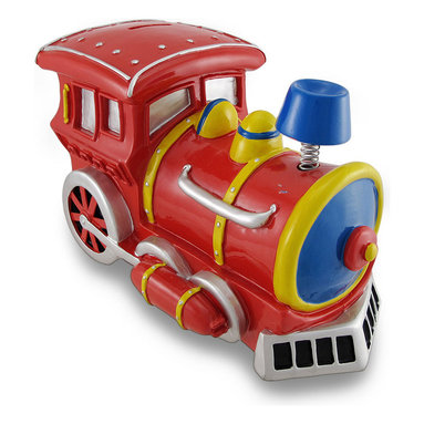 Large Bobble Smoke Stack Train Engine Piggy Bank - This charming piggy bank is a great addition to every little boy's room. Made of cold cast resin, it features a brightly colored steam engine with a bobble spring supporting the smoke stack. The bank measures 10 1/2 inches long, 6 inches wide, and 7 inches tall and empties via a twist-off plastic piece on the bottom. It is hand-painted, and makes a great gift for train lovers or anyone wanting to encourage a savings habit.