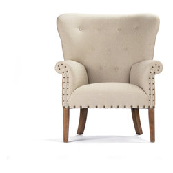 Zentique - Wingback Chair - Wing it! No need to obsess about your decor; this chair is a classic choice for your favorite setting. From the handsome, high-back shape to the natural linen upholstery, to the brass nail head detailing, it's destined to be the best seat in the house.
