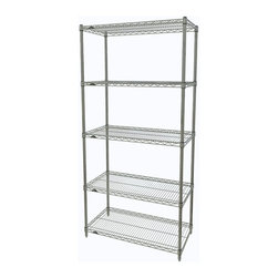 InterMetro Industries - Metro Shelving Unit - 48x18x74 - As the original wire storage shelving system and still the industry leader, Metro shelving continues to evolve and aims to meet the diversity of todays storage challenges. These professional grade units hold more weight. The five (5) shelves can be positioned, or re-positioned, at precise 1 increments along the length of the posts.  Open wire design minimizes dust accumulation and allows for free circulation of air and greater visibility of stored items. Casters (sold separately) available for mobile applications. This post-based shelving system, created in 1965, is recognized worldwide as the most popular commercial shelving system ever.  Assembly required