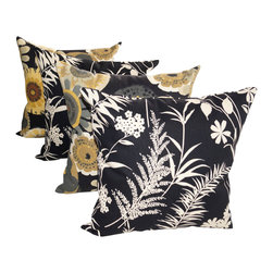Land of Pillows - Ardiana Black and Crosby Ebony Black Outdoor Decorative Throw Pillows - Set of 4 - Give your sofa, window seat or patio lounge chair a boost of blooming color and design with these modern throw pillows. This set of four stylish pillows includes two with a chic black and ivory botanical design, and two with a lovely multicolored floral pattern. Crafted from high quality fabric that is stain, water and fade resistant, these square pillows work great indoors or out!