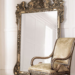 """Floor Mirror - Beautifully ornate, this large 7 ft mirror will add tremendous style and drama to your home.  Finished with an antiqued golden finish.• 48""""W x 2""""D x 84""""T."""