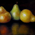 Oil Paintings by Cheri Wollenberg - Pears Still Life Painting - Stretched Canvas Original Oil Painting - Three warmly colored pears painted larger than life with reflections and dramatic background adds to any kitchen and dining décor.