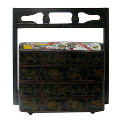 Golden Lotus - Chinese Porcelain Lacquer Wedding Basket Accent Box - This is a traditional Chinese decorative box made of compressed wood and Chinese lacquer. The lid is a porcelain painted with oriental graphic as accent. ( porcelain surface has minor lines )