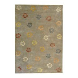 """MSR3267B Martha Stewart Rug - 9'6""""x13'6"""" - Artistically blending the weaving cultures of Japan and Italy, the overall flower motif of Garland was adapted from a lavishly embroidered vintage kimono, and then richly embellished with a vermicelli pattern found in Italian silks since the 18th century. This versatile design is created with shimmering viscose yarns for pattern definition against a luxuriously thick matte textured background of fine New Zealand wool."""