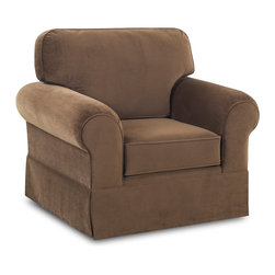 None - Wyatt Chocolate Upholstered Armchair - The fashionable Wyatt armchair comes with a squared dressmaker skirt to give it a contemporary look. Finished in a warm chocolate brown,this plush armchair features comfortable arm pillows to provide an enjoyable seating experience.