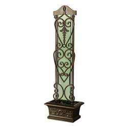 """Bluworld Innovations, LLC - Copper Falls Water Trellis Fountain 75""""H x 22.25""""W Antique Copper - 75"""" Green tempered glass surface and antique copper frame. Create a captivating focal point with this stunning water trellis. Plants can be placed near the basin to grow along the trellis' intricate designs, while water gently falls over polished river rocks to stunning effect. Quiet and easy to install, it humidifies and cleanses the air, making it a welcome addition to any home. Equally suited for outdoor use."""