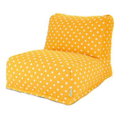 Majestic Home - Outdoor Citrus Ikat Dot Bean Bag Chair Lounger - The progeny of a beanbag chair and a patio lounger, this casual kickback chair takes loafing to a new level, with a long seat for putting your feet up, an angled back for support and all that cushy beanbag filling to mold around your form. It comes with a cute, stylish modern polka dot cover that's treated for outdoor use and easy to remove and clean. It's perfect for the family room, media room, den or deck.
