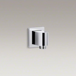 KOHLER - KOHLER Awaken(TM) wall-mount supply elbow with check valve - The Awaken wall supply elbow features a low profile design, allowing the handshower hose connection to be close to the wall. An integrated check valve prevents backflow. Metal construction ensures long-lasting durability. Coordinate it with an Awaken hand