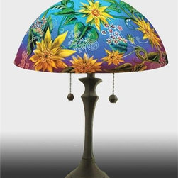 Barthell, Jamie - Sunflower Reverse Handpainted Glass Table Lamp - This beautiful hand painted glass table lamp shown here in the Sunflower design, will make a stunning addition to any room. Each piece is an original work of art that is signed and numbered, and includes a certificate of authenticity