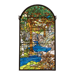 """Meyda - 40""""H X 22""""W Tiffany Waterbrooks Stained Glass Window - Meyda's interpretation of louis comfort tiffany'swaterbrooks window is made using hand cut glassindividually wrapped in copper foil. A beautifulselection of stained art glass in neutral tones ofearth browns, verdant and mottled greens, russetoranges and rippling azure were hand selected to createthis masterpiece. A solid brass hanging chain andbrackets are included."""