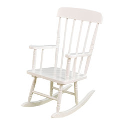 "KidKraft - Kidkraft Home Indoor Outdoor Kids Spindle Wooden  Rocking Chair - White - Our Spindle Rocking Chair is inspired by painter Norman Rockwell's classic artwork and was designed to capture the timelessness of that era. Kids will love rocking back and forth in this child-sized chair. Dimension: 22.75""Lx 16.25""Wx 29""H, Seat 12.25""H"