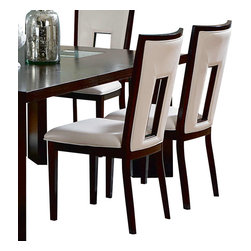 Steve Silver - Delano Side Chairs - Set of 2 - For a sleek and contemporary look, the Delano Side Chairs feature a beautiful white vinyl seat and cut out back and is finished in a rich espresso.