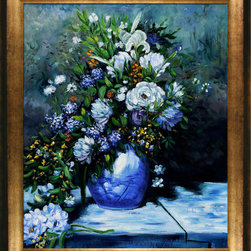 overstockArt.com - Renoir - Grande Vase Di Fiori - Hand painted oil reproduction of a famous Renoir painting Grande Vase Di Fiori. It has been carefully recreated detail-by-detail, color-by-color to near perfection. In the 1870's Renoir's Impressionist technique reached its peak, with glorious accomplishment. His fully defined technique rendered facial expressions and movements masterfully. He spent weeks and sometimes months perfecting his paintings. Why not grace your home with this reproduced masterpiece? It is sure to bring many admirers!