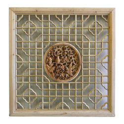 Golden Lotus - Chinese Square Flower Bird Wooden Wall Plaque Decor - This is a square wooden wall decor with Chinese  flower and bird theme surrounded by simple geometric pattern.