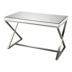Sterling Industries - Klein Mirror and Stainless Steel Desk - Klein-Mirror and Stainless Steel Desk. This Desk has a clear chrome finish.