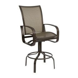 Woodard Cayman Isle Flex Sling Swivel Barstool - When the folks at Woodard say all-weather, they really mean it and the Woodard Cayman Isle Flex Sling Swivel Barstool is ready to prove it while you're busy entertaining friends and family on the porch or patio. This tall, handsome barstool is crafted from corrosion-resistant aluminum with modern curves and a powder-coat finish that not only adds a finished look but also helps prevent corrosion or weathering. The fabric seat and back are pulled to tight to provide plenty of support while still being forgiving enough for maximum comfort. A heavy duty swivel/rocker hinge allows from plenty of smooth movement while never getting loose and wobbly. The sling fabric is also quick drying and easy to clean, so you're never more than a quick wipe of a towel away from spending some quality time outdoors.Important NoticeThis item is custom-made to order, which means production begins immediately upon receipt of each order. Because of this, cancellations must be made via telephone to 1-800-351-5699 within 24 hours of order placement. Emails are not currently acceptable forms of cancellation. Thank you for your consideration in this matter.Woodard: Hand-crafted to Withstand the Test of TimeFor over 140 years, Woodard craftsmen have designed and manufactured products loyal to the timeless art of quality furniture construction. Using the age-old art of hand-forming and the latest in high-tech manufacturing, Woodard remains committed to creating products that will provide years of enjoyment.Superior Materials for Lasting DurabilityIn the Aluminum Collections, Woodard's trademark for excellence begins with a core of seamless, virgin aluminum: the heaviest, purest, and strongest available. The wall thickness of Woodard frames surpasses the industry's most rigid standards. Cast aluminum furniture is constructed using only the highest grade aluminum ingots, which are the purest and most resilient aluminum alloys available. These alloys strengthen the furniture and simultaneously render it malleable. The end result is a fusion of durability and beauty that places Woodard Aluminum furniture in a league of its own.Fabric, Finish, and Strap Features All fabric, finish, and straps are manufactured and applied with the legendary Woodard standard of excellence. Each collection offers a variety of frame finishes that seal in quality while providing color choices to suit any taste. Current finishing processes are monitored for thickness, adhesion, color match, gloss, rust-resistance and, and proper curing. Fabrics go through extensive testing for durability and application, as well as proper pattern, weave, and wear.Most Woodard furniture is assembled by experienced professionals before being shipped. That means you can enjoy your furniture immediately and with confidence.Together, these elements set Woodard furniture apart from all others. When you purchase Woodard, you purchase a history of quality and excellence, and furniture that will last well into the future.
