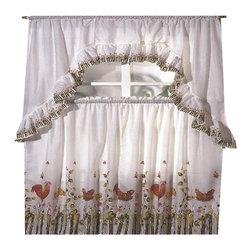 Kashi Home - Rooster Printed Kitchen Curtain Swag Set - Brighten up your kitchen with these printed kitchen curtain sets