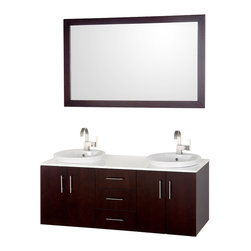 Wyndham Collection - Modern Bathroom Vanity Set - Includes one bathroom vanity, two white porcelain semi recessed sink and matching mirror. Faucets not included. 8 stage painting and coloring process. Modern wall mounted installation. White glass top. Deep doweled drawers. Fully extending side mount drawer slides. Soft close doors. Concealed door hinges. Pure white glass counter. Single hole faucet mount. Metal hardware. Four doors and three drawers. Made from wood and MDF. White, espresso and brushed chrome color. Care Instruction. Vanity: 55 in. W x 21 in. D x 23.5 in. H. Mirror: 52.75 in. W x 33 in. H