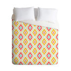 DENY Designs - Jacqueline Maldonado Zig Zag Ikat White Duvet Cover - Turn your basic, boring down comforter into the super stylish focal point of your bedroom. Our Luxe Duvet is made from a heavy-weight luxurious woven polyester with a 50% cotton/50% polyester cream bottom. It also includes a hidden zipper with interior corner ties to secure your comforter. it's comfy, fade-resistant, and custom printed for each and every customer.