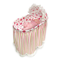 Badger Basket - Embrace Bassinet with Stripe and Flower Bedding Set - Badger Basket's new Stripe and Flower Embrace Bassinet offers the comfort, fashion, and convenience you want for Baby's first few months.;Features: Standard size bassinet with hood and mattress pad and full bedding set together in one box - nothing else to purchase.;Posh bedding set includes long skirt attached to quilted liner, fitted sheet, and hood cover.;Bassinet measures 33 inches L x 19 inches W x 41 inches H to top of hood.;Height from rim of bassinet to the floor is 31 inches.;Height of the bassinet basket is 11 inches.;Vinyl-covered-foam pad measures 29.5 inches L x 15.5 inches W x 1 inches H.;Caster wheels make it easy to move the bassinet from room to room (never move the bassinet with baby in it).;Bassinet is Made in the USA. Bedding set is imported.;Adult assembly required. Illustrated instructions included.;Stripe and Flower bedding set is 100% cotton with 100% polyester fill for padding in the liner.;Bedding can be machine washed in cold water, non-chlorine bleach as needed, tumble dry low.;Bassinet is made with plastic legs and frame, metal hardware, and durable, industrial chipboard basket.;Wipe bassinet clean as needed with a damp cloth.;Product may vary slightly from shown.;This item ships in its original carton which may include a photo of the product.;All measurements approximate.;Complies with all current, applicable ASTM safety standards.;Additional fitted sheets can be purchased separately (white, two per package, Model #00020).;Please note the bassinet is intended to always be used with the bedding set. The bassinet basket has plain walls, not wicker-look.;Needs Assembly: Yes;Dimensions: 33 x19.75 x 41