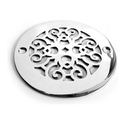 """Designer Drains - Classic Scrolls No.4 Shower Drain, Polished Stainless Steel - Polished stainless steel drain made to fit Oatey drain roughs. Measures 1/16"""" thick x 4.00"""" OD x 3 3/8"""" center to center of the fastening holes. Includes stainless steel fasteners. Made in U.S.A."""