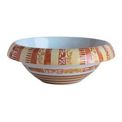 WS Bath Collections - LVT 100 - Tribal Bathroom Sink - Ceramica by WS Bath Collections 16.1  x 5.9 Above The Counter Bathroom Sink/ Washbasin in Hand Painted and Hand Decorated Ceramic