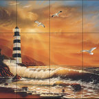 The Tile Mural Store (USA) - Tile Mural - Majestic Lighthouse - Kitchen Backsplash Ideas - This beautiful artwork by Jeff Wilkie has been digitally reproduced for tiles and depicts a colorful lighthouse painting.  Our lighthouse tile murals and nautical themed decorative tiles are perfect as part of your kitchen backsplash tile project or your tub and shower surround bathroom tile project. Lighthouse images on tiles add a unique element to your tiling project and are a great kitchen backsplash idea. Use a lighthouse scene tile mural for a wall tile project in any room in your home where you want to add interest to a plain field of wall tile.