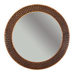 """Premier Copper Products - 34"""" Round Copper Mirror with Braid Design - Uncompromising quality, beauty, and functionality make up this Hand Hammered Copper Round Mirror Frame with a Decorative Braid Design.  Our hand made copper mirrors complement a wide variety of styles and colors."""