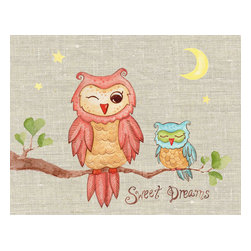 The Little Acorn - Sweet Dreams Baby Owl Painting - Baby Owl drifts sweetly off to sleep as mama whispers 'sweet dreams.' Originally handpainted by Bridget Kelly. A timeless and endearing expression for little boys or girls of any age. Coordinates with 'I love you' and 'Dream away' canvases. Dimensions and Details: Size 12.5x16 Sold individually. Just remove art from box and hang on the wall (nails not included) Saw tooth mount, No framing, no glass, and no hassle. Safest art for baby and children's rooms because there is no glass or sharp plastic edges. Pine wood frame with cotton canvas surface. Easily cleaned with a dry soft cloth. Made in China