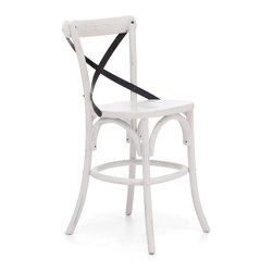 Union Square Counter Chair Antique White - Elm Wood and Metal Counter Chair in Antique White