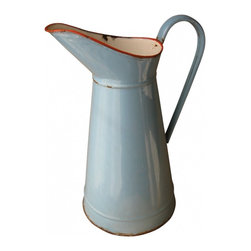 Blue French Body Pitcher - Pretty enamelware pitcher in blue with red color at the rim circa 1930s.
