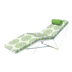 Haskell - Pearl Series 9 Chaise, With Suzani Cushion Set - This chaise is chic, sleek and ecofriendly. The stainless steel is up to 85 percent recycled content and the powder coating releases few, if any, VOCs. It's an admirable — and attractive — addition to your terrace, deck or patio.