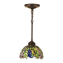 "Meyda Tiffany - 8""W Tiffany Honey Locust Mini Pendant - The Honey Locust was popular floral design created by Louis Comfort Tiffany, more than a century ago. Decorative dome-shaped stained glass lampshades, with petal shaped edges depict clusters of Plum and Periwinkle flowers amid Spring Green leaves cascading towards the base. This mini pendant has complementary decorative hardware featuring our Mahogany Bronze finish."