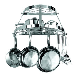 "Range Kleen-petra - Two Shelf Wall-Mount Pot Rack (Stainless Steel) - Two Shelf Wall-Mount Pot Rack (Stainless Steel)Brand: Range Kleen. RKNCW6004R. Stainless Steel. Includes 3 Wall Screws, 3 Wall Anchors & 8 Pot Hooks. Dim: 12""H X 24""W X 11""D. Stainless SteelProduct Class: Electronics-OtherUPC: 70775182232Manufacturer's Warranty: One Year"