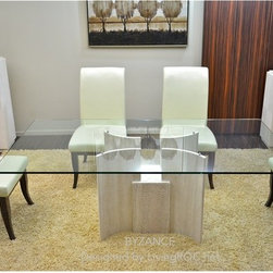 MARBLE DINING TABLE AND GLASS-BYZANCE - Reference: DT106+DT106GLASS