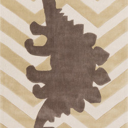 Surya - Budding BUD-2006, Beige, 5x8 Rug - A large gray dinosaur centered on the rug gives an eclectic and bold twist to the classic zigzag pattern.