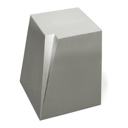 "Gus* - Glacier End Table - Glacier End Table  by Gus Modern    At A Glance:   Resembling something that you might find working its way down the valley from Mount Rainier, the Glacier End Table is made of stainless steel. That means that, much like a glacier, it won't scuff, crack, or fall apart when you're rearranging your living room. Wait, you keep glaciers in your living room? That's cool.  What's To Like:  If you're looking for something sleek, different, and durable, look no further.Minimalists unite! This metal end table is one you can rally around.Doubles as an enormous paper weight.  What's Not to Like:   Upside: it's metal. Downside: it's metal. The Glacier End Table has a very ""love it or leave it"" design. Well, we happen to love it. Now it's up to you.  The Bottom Line:   With a gracefully molded crevasse on one of its corners, the Gus Modern Glacier End Table takes your imagination for a spin and gives your living ro"
