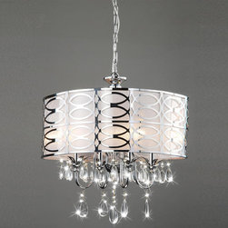 None - Indoor 4-light Chrome/ Crystal Chandelier - No stylish home should be without this elegant crystal chandelier. This four-light chandelier,with its chrome finish and frosted glass,will add a touch of class and sophistication to any space,including your foyer,living room,or dining room.