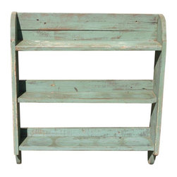 Pre-owned Antique Painted Pine Shelving Unit - This antique painted pine shelf presents the perfect storage place for small cookbooks, knick-knacks, family photos, or collectibles. Solid construction and painted a minty green with natural distressing from age.