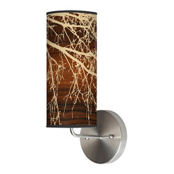 jefdesigns - Branch 1 Wall Sconce - Bring the outdoors into your home with this unabashedly beautiful wall sconce. Its chocolate linen shade, designed by Joe Futschik, is a swirl of golden tree branches, and it features a sleek, polished metal base.