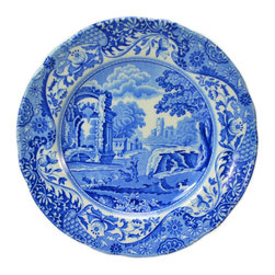 Spode on base - Consigned Consigned 6 Blue & White Small Porcelain Side Plates by Spode, English - A set of 6 porcelain small side plates in blue and white with classical ruins landscape by Spode, vintage English, second half of the 20th century. This is a vintage One of a Kind item. Some wear and imperfections are to be expected, as described.