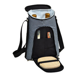 Picnic at Ascot - Houndstooth Pattern Double Bottle Carrier with Cheese Set - Features: