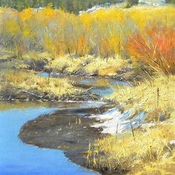 """""""Spring Has Sprung"""" (Original) by Greg  Clibon - """"This is a getaway for me, a place to escape the city! Just north of Woodland Park Colorado I parked and walked to a string of brush that follows this stream thru a valley for miles. From the road all one can see is mostly brush, but 'inside' is a still flowing mountain stream. On this spring morning, it was so peaceful. I love the beautiful blues reflected with dark shadows along the bank. Yellow orange and ochers and spots of white snow are Great to get excited about.!"""