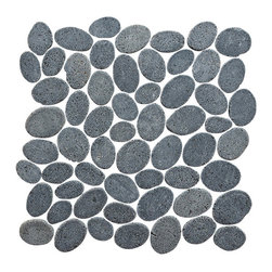 Pebble Tile - Coin Mosaic Tile, Black, 12 in. X 12 in. - The coins mosaic tile are made up of stones that are carefully cut and laid on mesh to create a 12x12 in. interlocking square. Each stone is a varying oval shape to create a pebble like appearance with a uniformed look. The coins mosaic tile is our most unique product and allow for a seamless attractive finish to any project. The versatility of this product is endless and with the variety of the shades and blends within the group you can create a wonderfully unique addition to your home, office or exterior area.