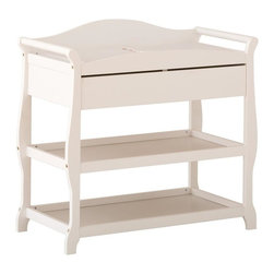 Storkcraft - Aspen Changing Table with Drawer in White Finish - Includes change pad and safety strap.