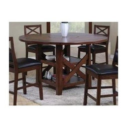 Winners Only - Franklin Dining Pub Table w Lazy Susan - Includes Pub Table. Chairs not included. Two shelves. Shelves: 46 in. L x 46 in. W. Table Top: 60 in. Dia. x 36 in. H