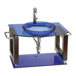 Renovators Supply - Console Sinks Glass/Stainless Console Sink Vanity Blue Wall Mount - Vessel Sink Vanity: the Blue Neo Deco wall mount tempered glass vessel sink package comes complete with faucet, drain, and p-trap. Installation instructions included.