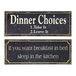 "IMAX CORPORATION - Breakfast and Dinner Signs - Set of 2 - Whimsical black and white, tin, Breakfast and Dinner Signs. Set of 2 in various sizes measuring around 7.5""L x 5.75""W x 17.5""H each. Shop home furnishings, decor, and accessories from Posh Urban Furnishings. Beautiful, stylish furniture and decor that will brighten your home instantly. Shop modern, traditional, vintage, and world designs."