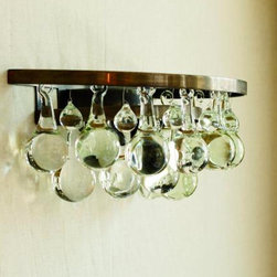 Arctic Pear Wall Light - patinated bronze or nickel frame with solid clear glass drops 2 tiers